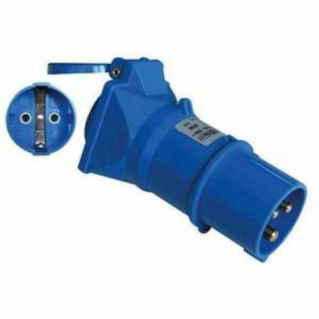 Adaptateur pour connecteur industriel Fiche 2P+T vers prise Schuko Bleu,16A,230 V