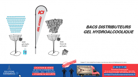 Bac distributeur Gel Hydroalcoolique Pocket