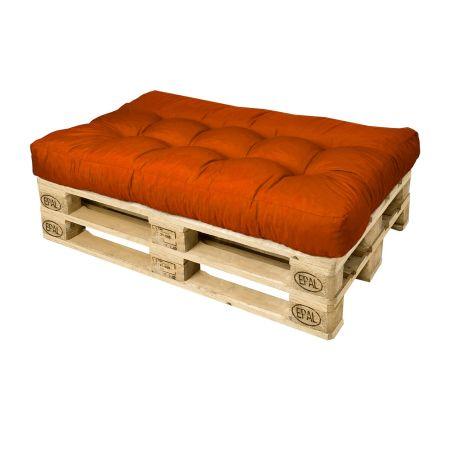 Canapé palette - Pouf orange