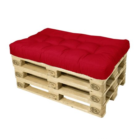 Canapé palette - Pouf rouge