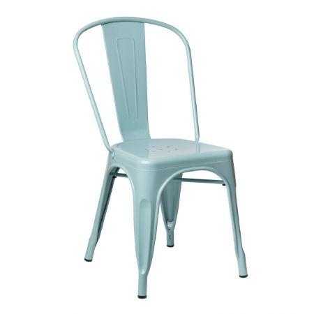Chaise tolix industrielle bleu ciel