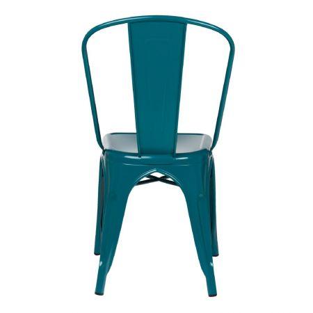 Chaise tolix industrielle bleu turquoise