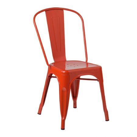 Chaise tolix industrielle orange
