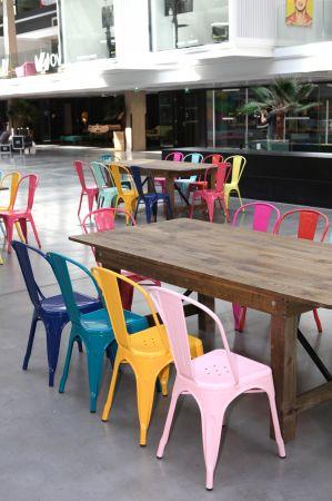 Chaise tolix industrielle rose pastel