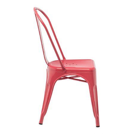 Chaise tolix industrielle rouge framboise