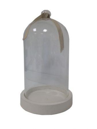 Cloche décorative socle blanc