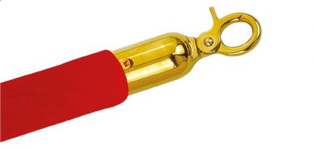 Cordon velours rouge & embouts or pour potelet de guidage