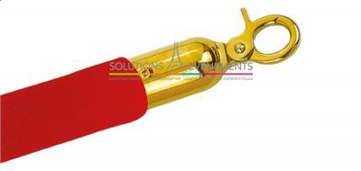 Cordon velours rouge & embouts or pour potelet de guidage