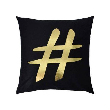 Coussin noir Hashtag