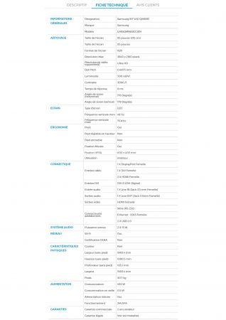 Écran plat géant 85 pouces dalle mate Samsung - UHD-4K