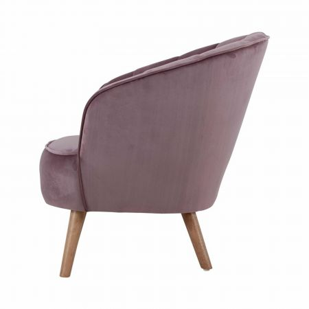 Fauteuil Corolle velours rose