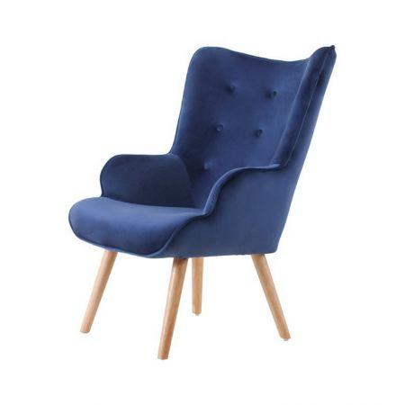 Fauteuil Malmo velours bleu