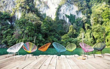 Fauteuil Panama vert d'eau