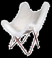 Fauteuil Papillon fourrure blanche