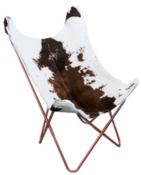 Fauteuil Papillon peau de bête