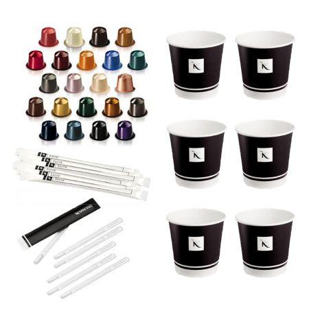 Kit café (100 capsules, tasses, mélangeurs et sucres)