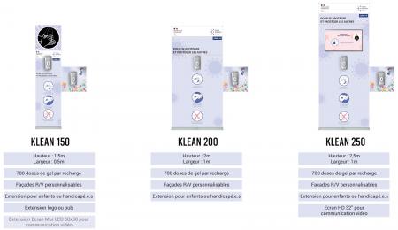 Klean250 personnalisé- distributeur gel hydroalcoolique avec ecran