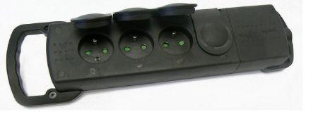 Multiprise étanche 220V 16A  IP44 noire (barquette)