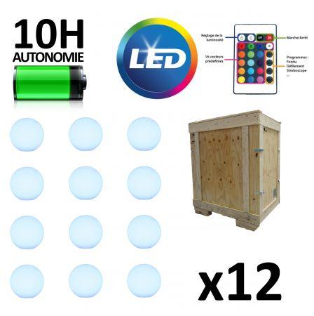 Pack 12 boules lumineuses - LED  30cm