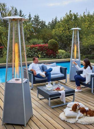 Pack 6 parasols chauffants Flamme design (gaz inclus)