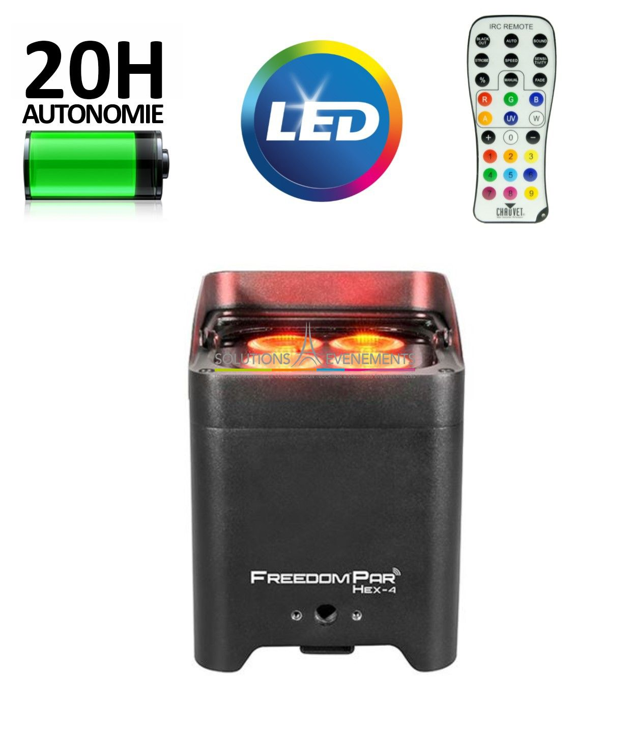 Location deco 4 led sur batterie chauvet freedom par hex 4 for Projecteur deco