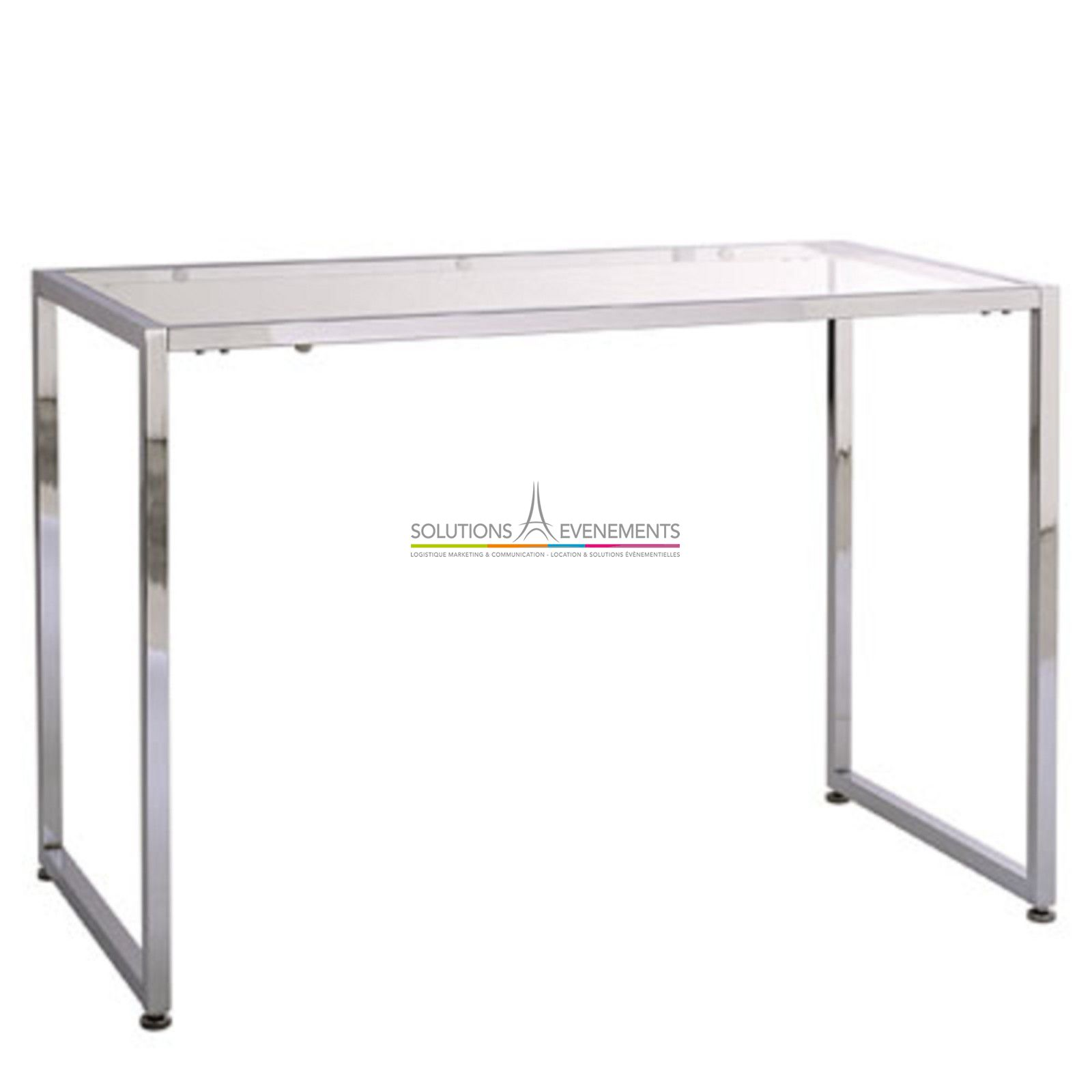 Location console verre chrome solutions evenements for Stand expo evenement