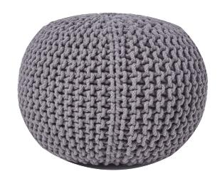 Pouf gris en laine Bohème
