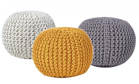 Pouf jaune en laine Bohème