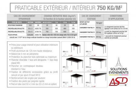 Praticable 1x0.5m ASD PRAR15 750kg/m2