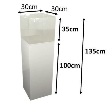 Stèle 100x30x30 blanche avec cloche