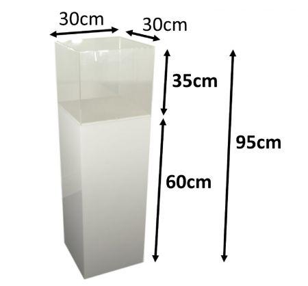 Stele 60x30x30 blanche avec cloche