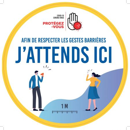 Sticker SOL 'J ATTENDS ICI' - Rond40cm