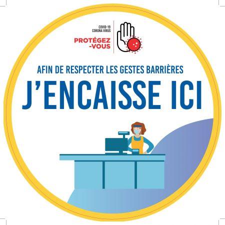 Sticker SOL 'J'ENCAISSE ICI' - Rond40cm