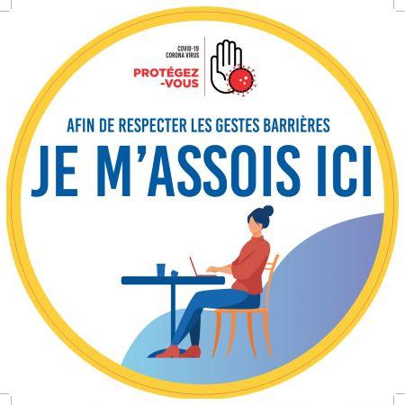 Sticker SOL 'JE M ASSOIS ICI' - Rond40cm