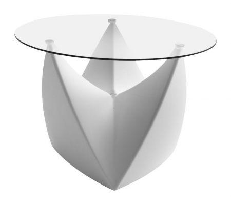 Table basse Spootnik BLANCHE  plateau transparent