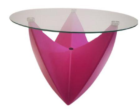Table basse Spootnik FUCHSIA  plateau transparent