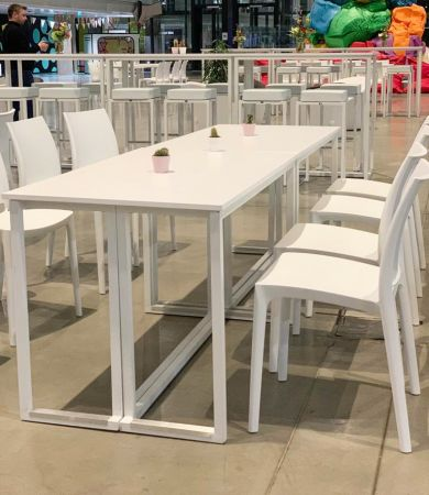 Table Buffet Kubo Blanche - Plateau Blanc