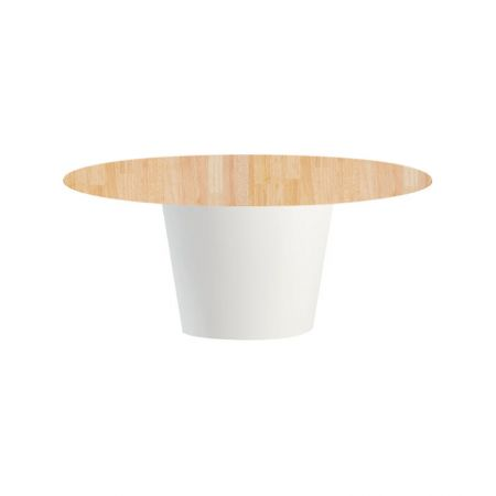 Table Conic O Blanche - Plateau Bois