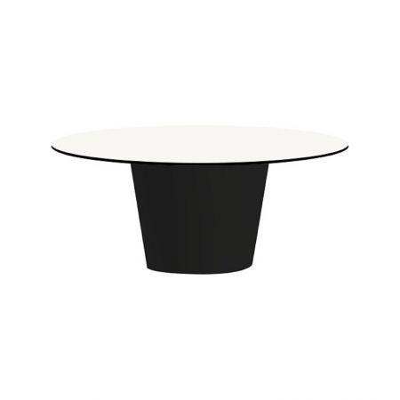 Table Conic O Noire - Plateau Blanc