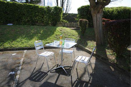 Table Guéridon Modulx carre bistrot-inox