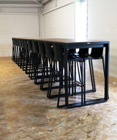 Table haute Flow 230cm - plateau blanc