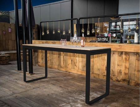 Table haute Flow 230cm - plateau noir