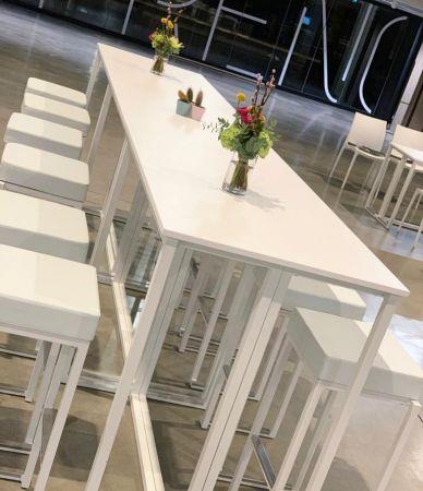 Table Haute Kubo Blanche - Plateau Blanc