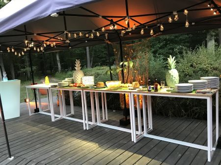 Table Haute Kubo Blanche - Plateau Noir