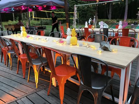 Table Haute Kubo Noire - Plateau Bois