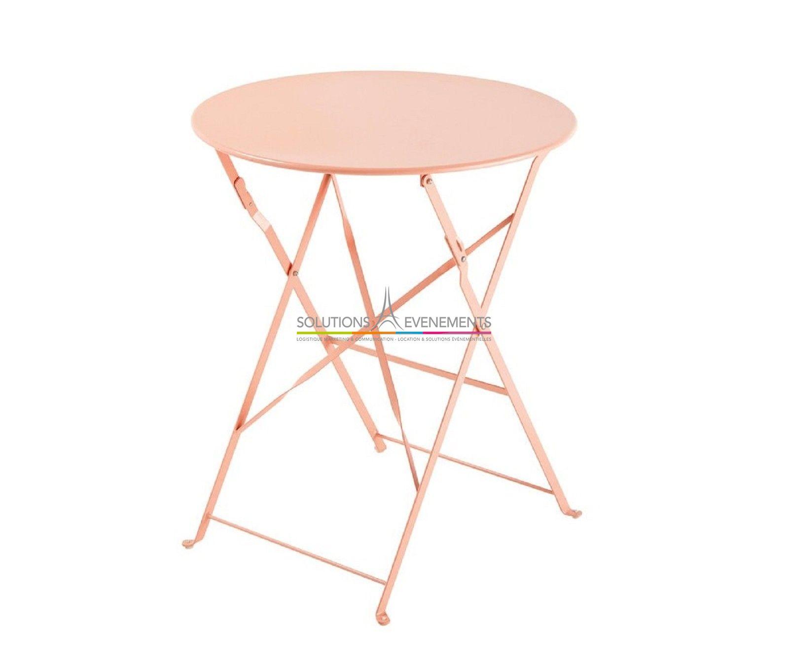 Location Table Jardin Metal Rose - Solutions Evenements