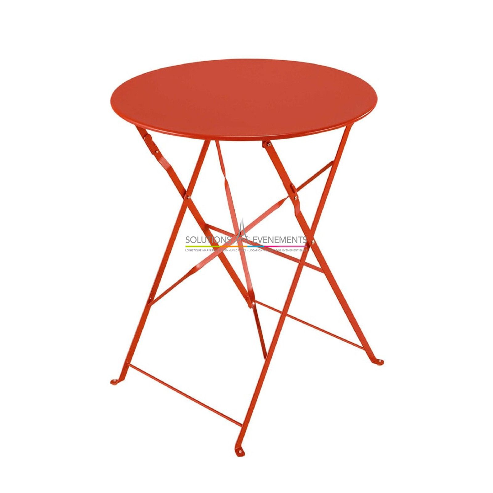 Location Table Jardin Metal Rouge - Solutions Evenements
