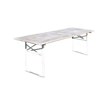 Table rectangulaire bois banquet blanc 10 personnes (220x70)