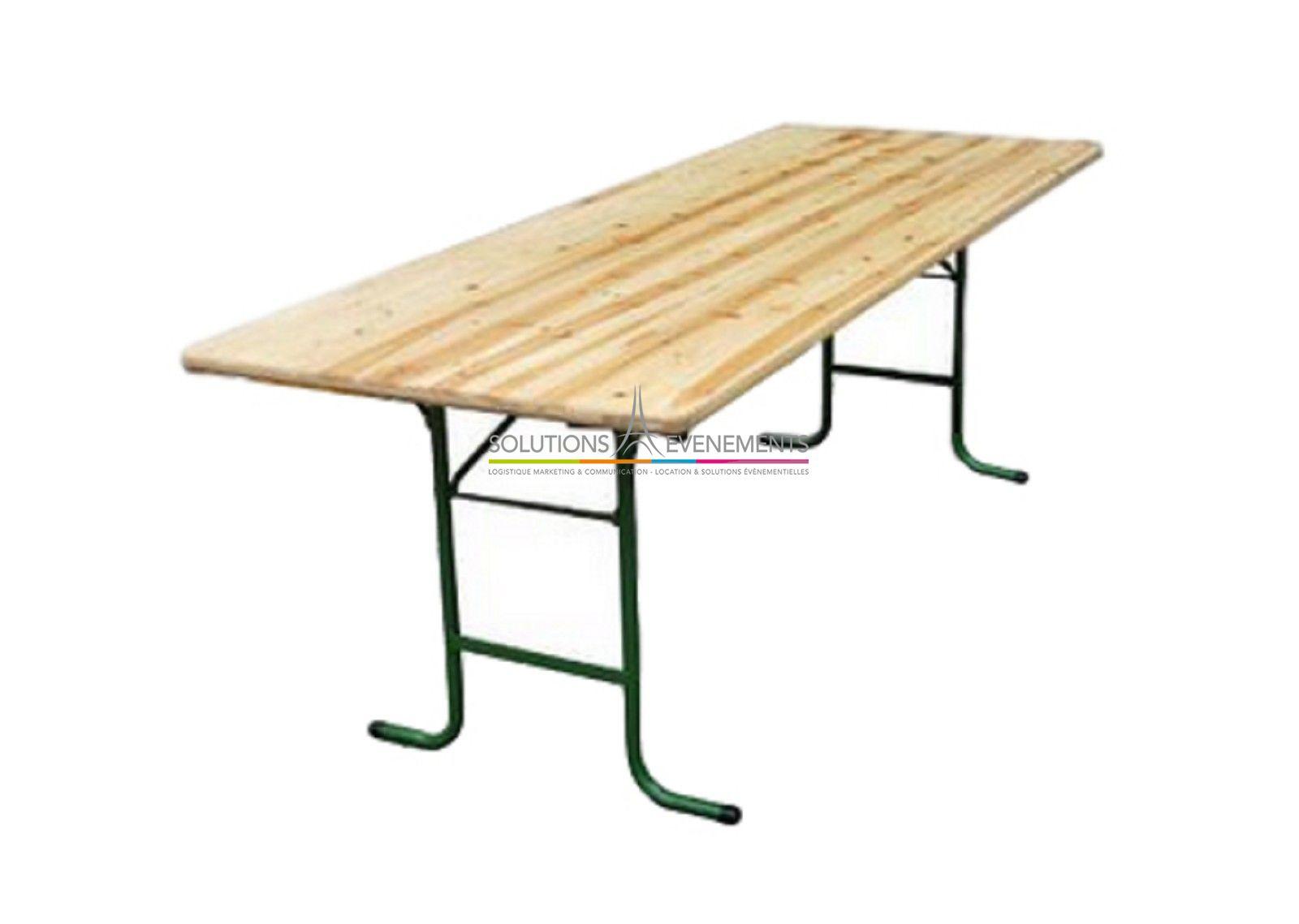 Table Rectangulaire Bois Banquet Pour 10 Personnes 220x70cm