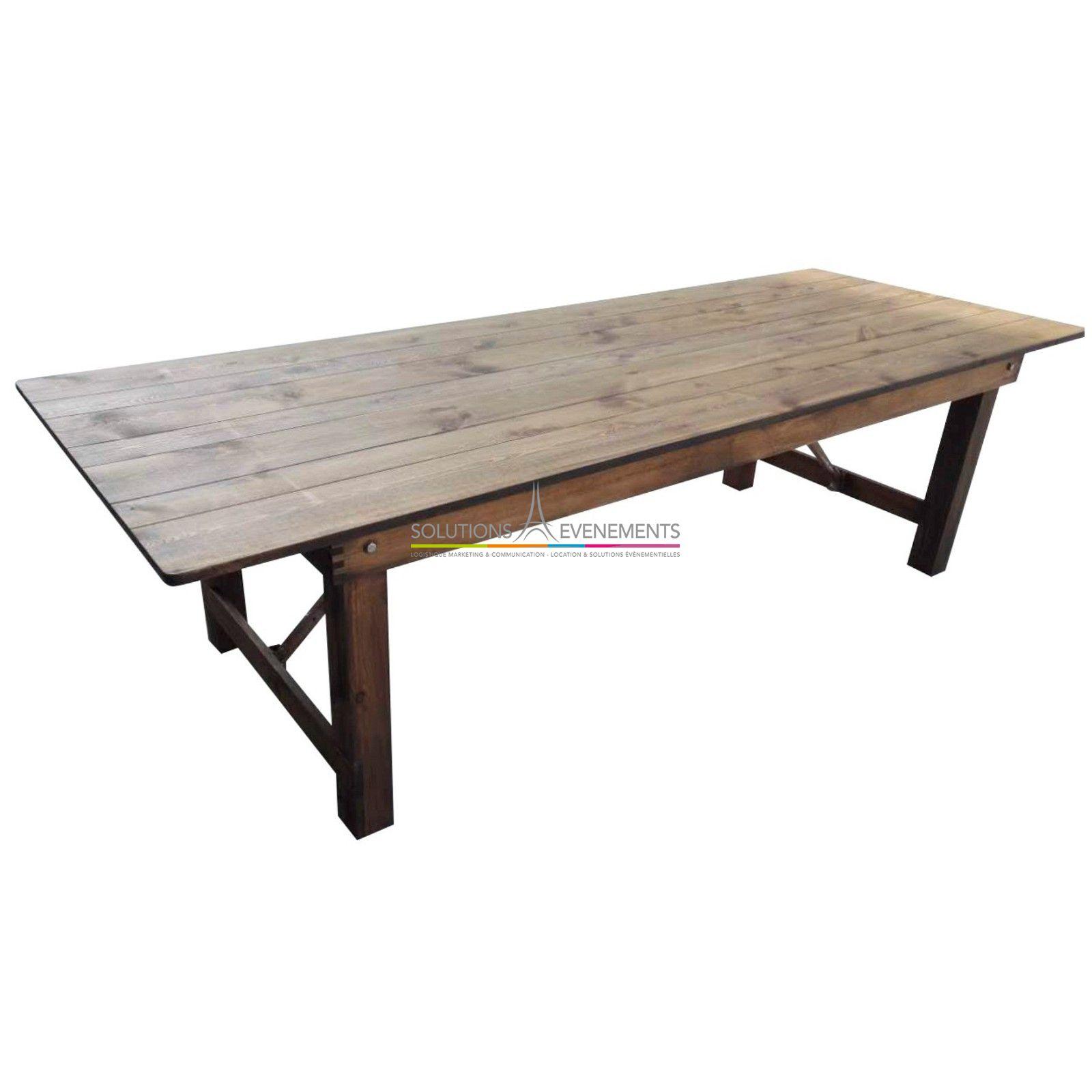 table vintage rectangulaire en bois pour 10 personnes - Mobilier Vintage Paris